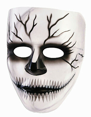Transparent Creepy Grin Cracked Skull Plastic Adult - Transparent Mask