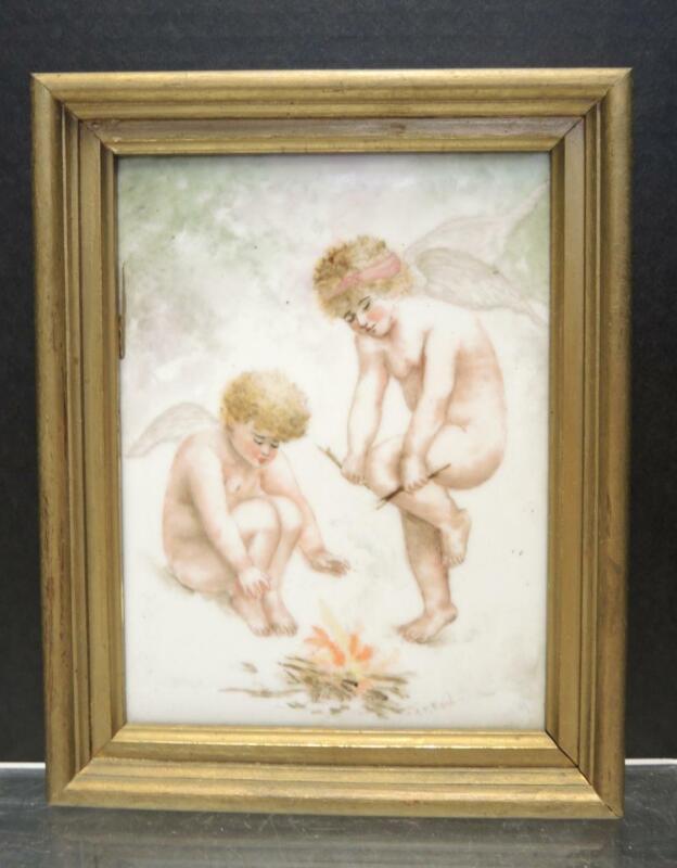 Antique Artist Signed  TV Limoges Hand Painted Plaque - AM Reid