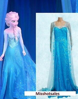 Elsa Adult Frozen Costume Disney Fancy Dress Blue Sexy Wig Cosplay Gown UK S M10