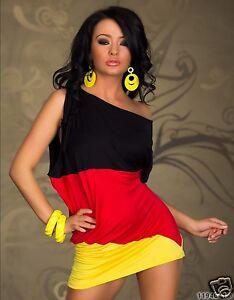 3354 flaggen Mini kleid Deutschland EM WM Fußball Gr. SM 34 36 Multicolor
