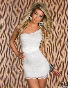4027-2 One-Shoulder-Minikleid aus Spitze robe dress  Gr. S/M 34 36 Weiss