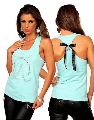 Top Mujer Camiseta de Tirantes Azul Lazo Remero Mariposa Colgante Espalda Nueva