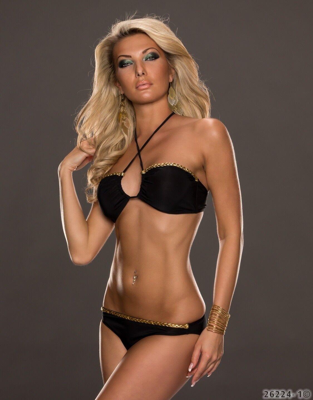 Bikini Set Top Slip Neckholder Push Up Strandtop Tankini Badeanzug 36/38