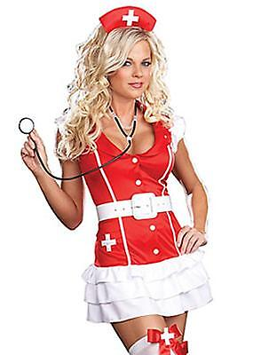 RED Halloween SEXY NURSE NAUGHTY COMPLETE OUTFIT COSTUME FANCY DRESS FETISH HEN - Red Nurse Outfit