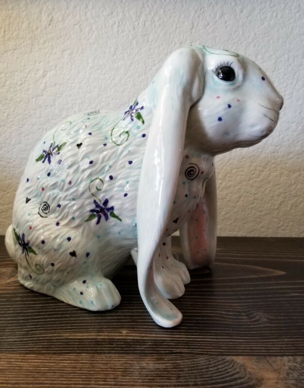 "Easter Bunny Rabbit Blue Floral Handmade Ceramic 9"" Figurine"