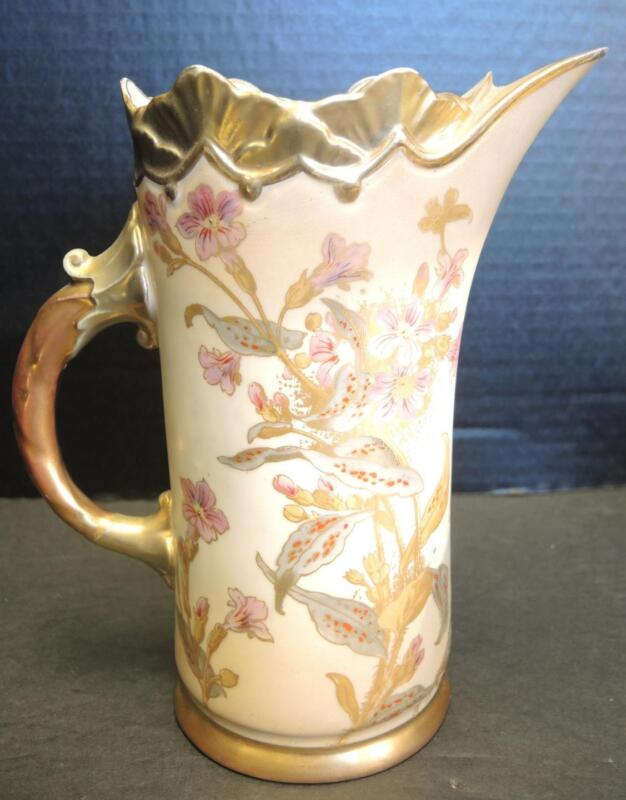 1900s Antique RH Robert Hanke Austria Gold and Floral Pitcher With Ice Lip