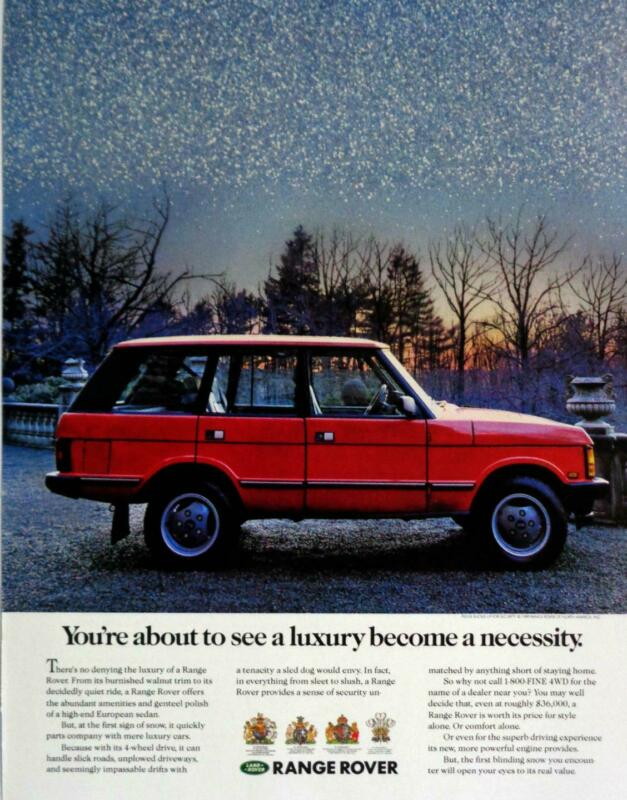 1989 Range Rover Tenacious in Snow Night Time Scene Photo Print AD Red Rover