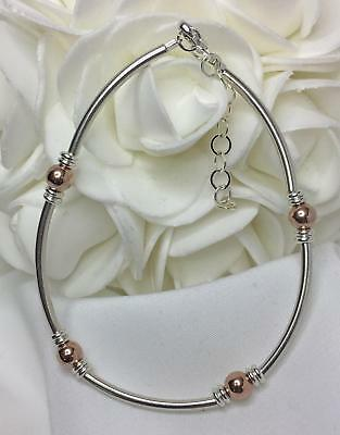 """Rose Gold & Sterling Silver Bracelet Stackable Extendable 7 to 8-1/2"""" (2998)"""