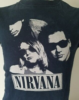 Nirvana Kurt Cobain Sunglasses Vintage Concert Tour Rock Band Faces Tee T Shirt