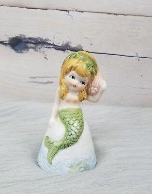 Vintage Porcelain Mermaid Bell Knick Knack