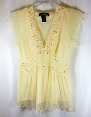 Coolwear Blouse Size Small Creme Color with Lace and Gold Sequins  - Lace Gold Creme