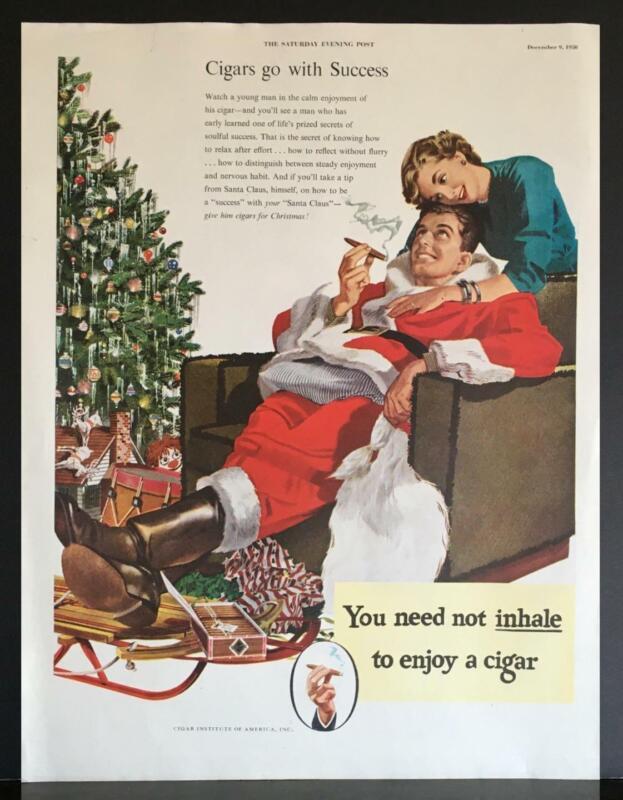 1950 Cigar Institute of America Success Santa Claus Christmas Tree Sled Print Ad