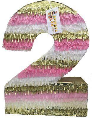 Large Pinata (Large Pink Gold & White Number Two Pinata 24