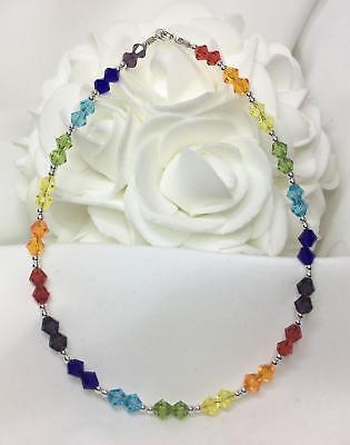 Chakra Crystal Sterling Silver Ankle Bracelet (3001) Plus Sizes