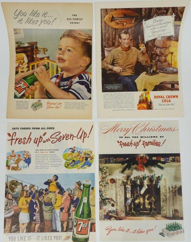 Lot 20 1900s Print Advertising Soda 7-Up Dr. Pepper Royal Crown Orange Crush