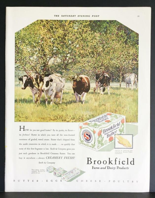 1929 Brookfield Dairy Creamery Butter Grazing Cows Apple Orchard Print Ad