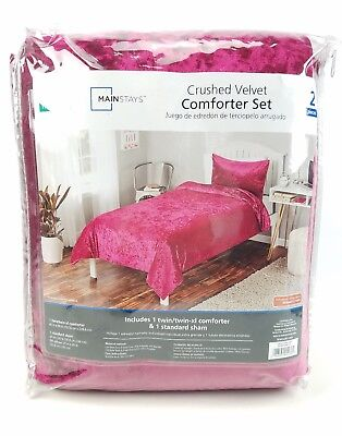 Rose Crushed Velvet 2 Piece Comforter Bedding Set Twin Size Rose - Stylish