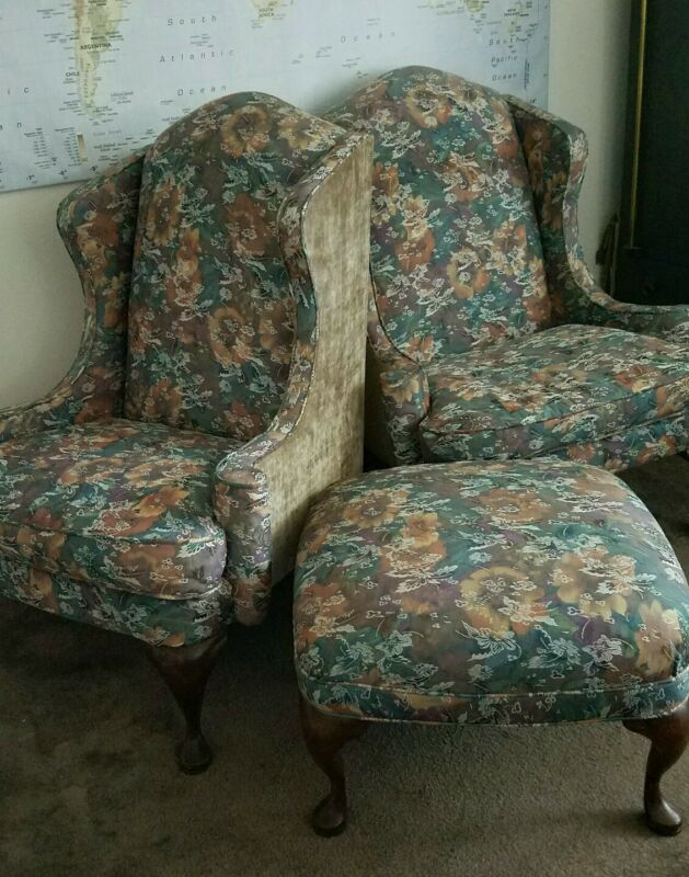 2 wing back chairs + ottoman(willing to sell separately)