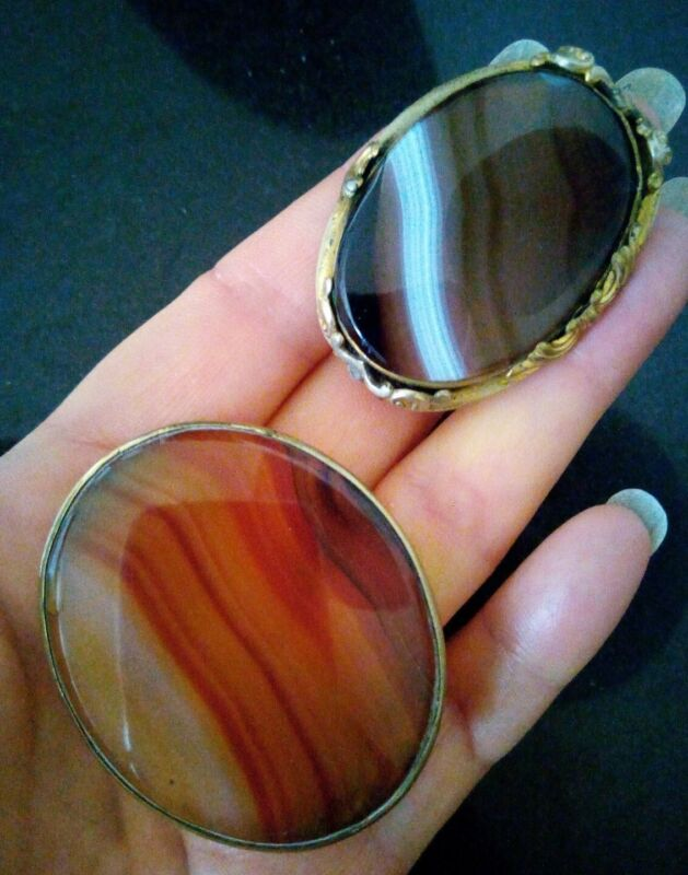 2 EDWARDIAN VINTAGE OVAL BANDED AGATE STONE BROOCHES...RESTORE REPURPOSE