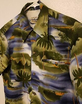 Vintage Napili Hawaiian Shirt Medium Hokulea Palm Trees Aloha Made in Hawaii for sale  Shipping to Canada