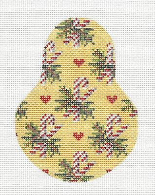(Candy Canes on Pear & STITCH GUIDE handpaint Needlepoint Ornament by Kelly Clark)