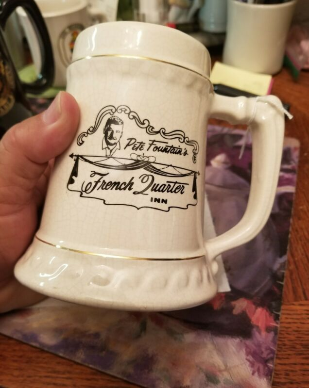 1960s New Orleans Jazz Pete Fountains French Quarter Inn 26 oz ceramic mug stein