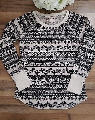 - Full Tilt Essentials Womens Top Knit Thermal Tee Black White size XL