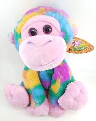 New Cute Rainbow Monkey Big glitter eyes bright soft Eco plush Stuffed Animal  - Cute Monkey Stuffed Animal