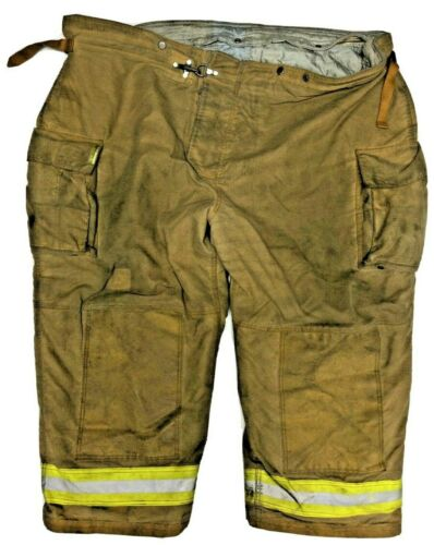 64x34 Securitex Brown Firefighter Turnout Bunker Pants with Yellow Stripe P1258