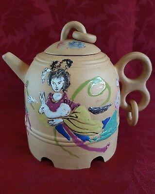 Unusual Enamelled Chinese Yixing Teapot