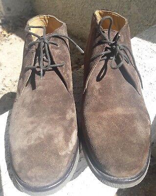 Geox Mens size 45 Claudio dark Brown Suede Chukka Boot Respira us 11.5