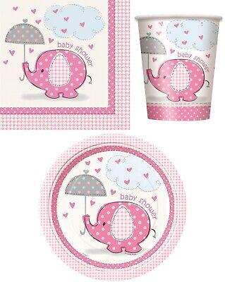 Rosa Elefant Baby Dusche Party Geschirr,Dekorationen,Einladungen,Luftballons