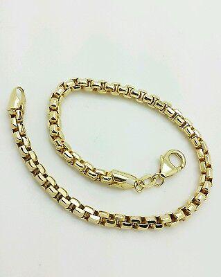"14k Yellow Gold Diamond Cut Round Box Bracelet Chain 7.5"" 3.0mm BEST PRICED!!"