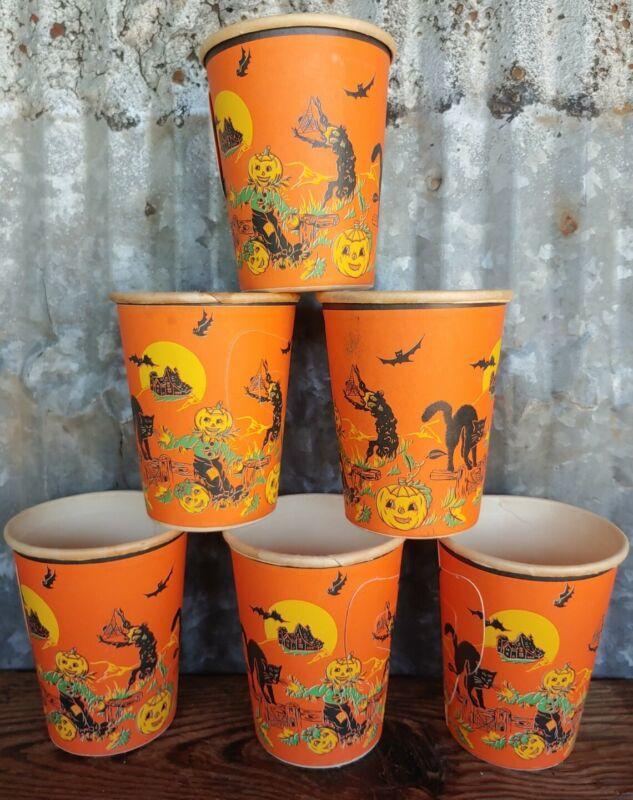 Vintage Halloween Goblin Black Cat Pumpkin 9 oz Hot Beverage w Handles Paper Cup