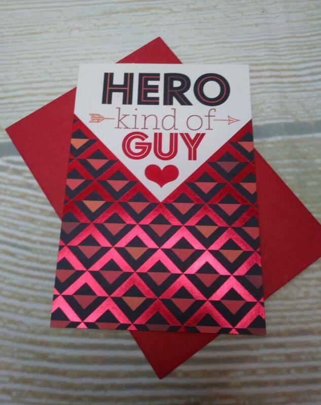 "New! ""HERO KIND OF GUY"" Men Husband Greeting Card & Envelope RED VALENTINE"