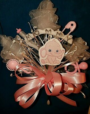 Baby shower MOMMY elephant corsage boy or girl aqua pink or blue jumgle theme   (Boys Baby Shower Themes)