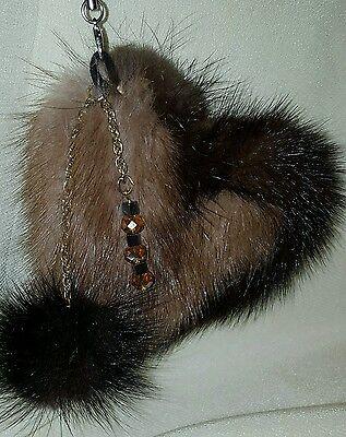 - #A8 Real Mink Fur Keychain Handbag  Charm Pom Pom Ball Heart Shaped