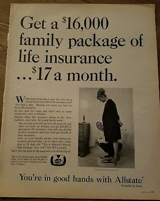 1966 Allstate Life Insurance Pregnant Woman Scales Think Twins Ad