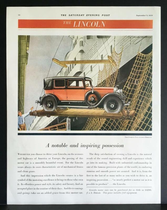 1930 Red Lincoln Judkins 2-Window Berline Hoisting to Ocean Liner Print Ad