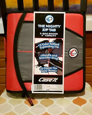 Case-it Xl 3-ring 3 Red Zipper Binder 5-tab File Folder The Mighty Zip Tab New