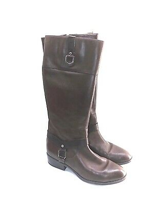 Ralph Lauren Women's 7.5 B M MESA Tall Burnished Leather Riding Boots Dark Brown