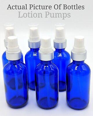 Glass Lotion Bottles - 12 Piece 2oz Cobalt Blue Small Glass Bottles LOTION PUMP Cobalt Blue Glass Pump