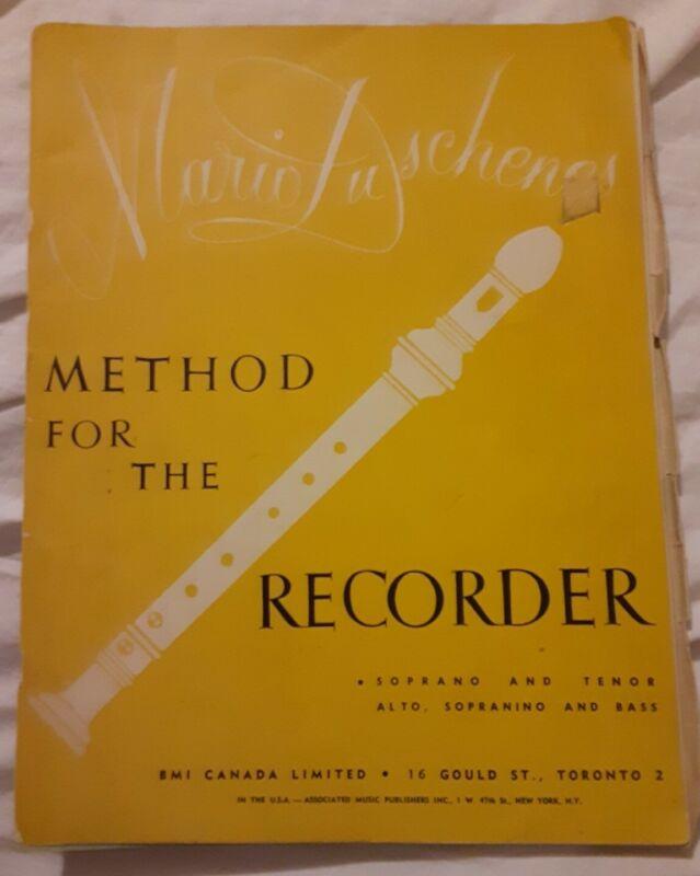Vintage Old 1957 Method for the Recorder Mario Duschenes Soprano & Tenor Book