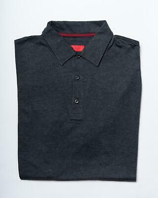 Isaia $395 NWT Gray Melange Jersey Cotton Knit Soft Polo Slim Fit S/S Shirt M