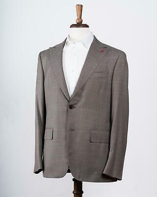 Isaia Brown Pink Window Pane Super 140's Wool Peak Lapel Suit 50 IT 40 US