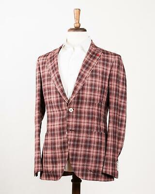 Isaia 'Sailor' Burgundy Plaid 2 Button Silk Blend Sport Coat 48 IT 38 US