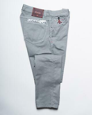 Isaia $565 Pastel Gray Cotton Classic Fit Stretch Gabardine Jeans 48 IT 32 US