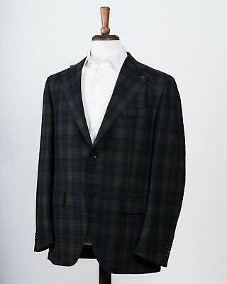 Isaia Navy Blue Green Plaid Wool Cashmere Two Button Sport Coat 54 IT 44
