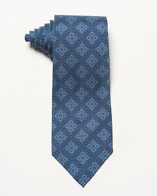 "(Isaia Napoli $230 NWT Blue Tonal Ring Pattern 7 Fold 100% Silk Tie 3.4"")"