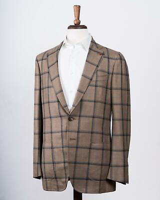 Isaia Beige Gray Window Pane 'Domenico' Wool Cashmere Blend 48 IT 38 US